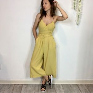 EVERLY cropped wide leg jumpsuit pockets yellow